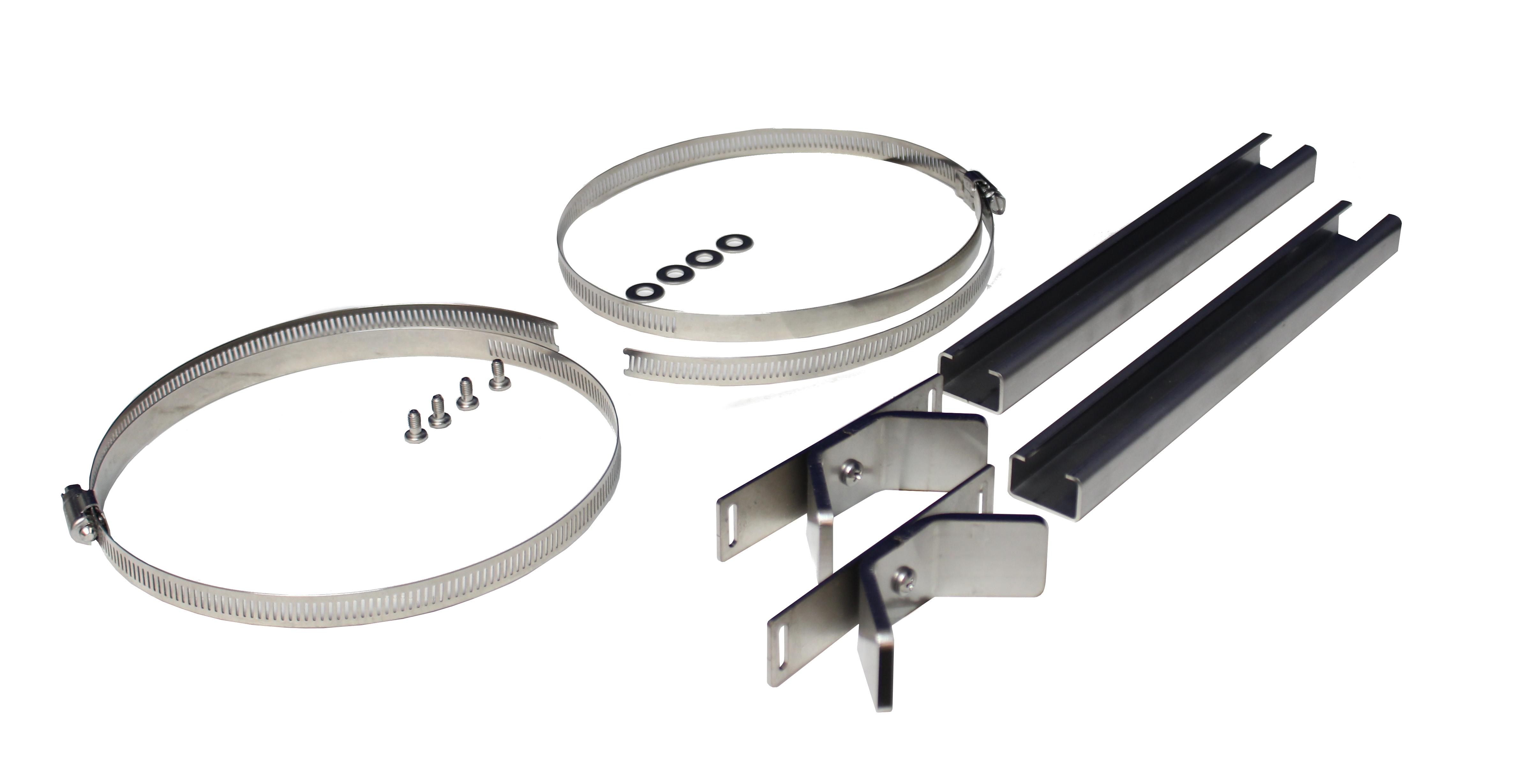 Two stainless steel cable clamp, two stainless steel brackets and rails, four stainless steel screws and washers