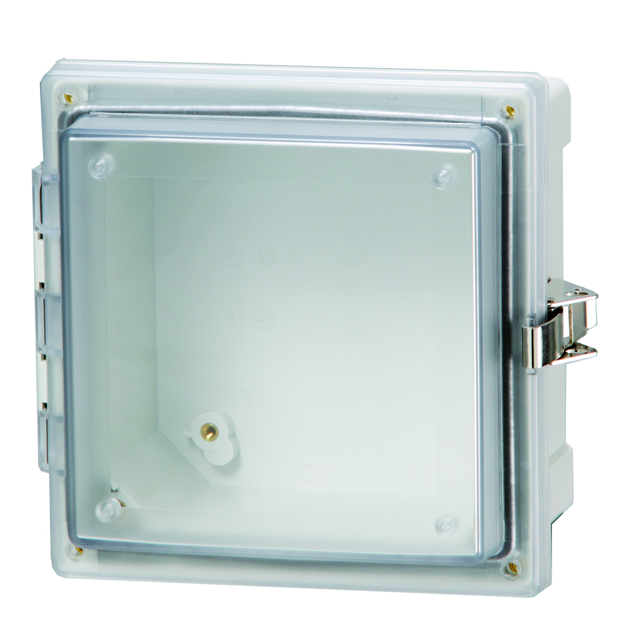 Hinged transparent enclosure
