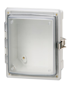 Hinged transparent cover enclosure