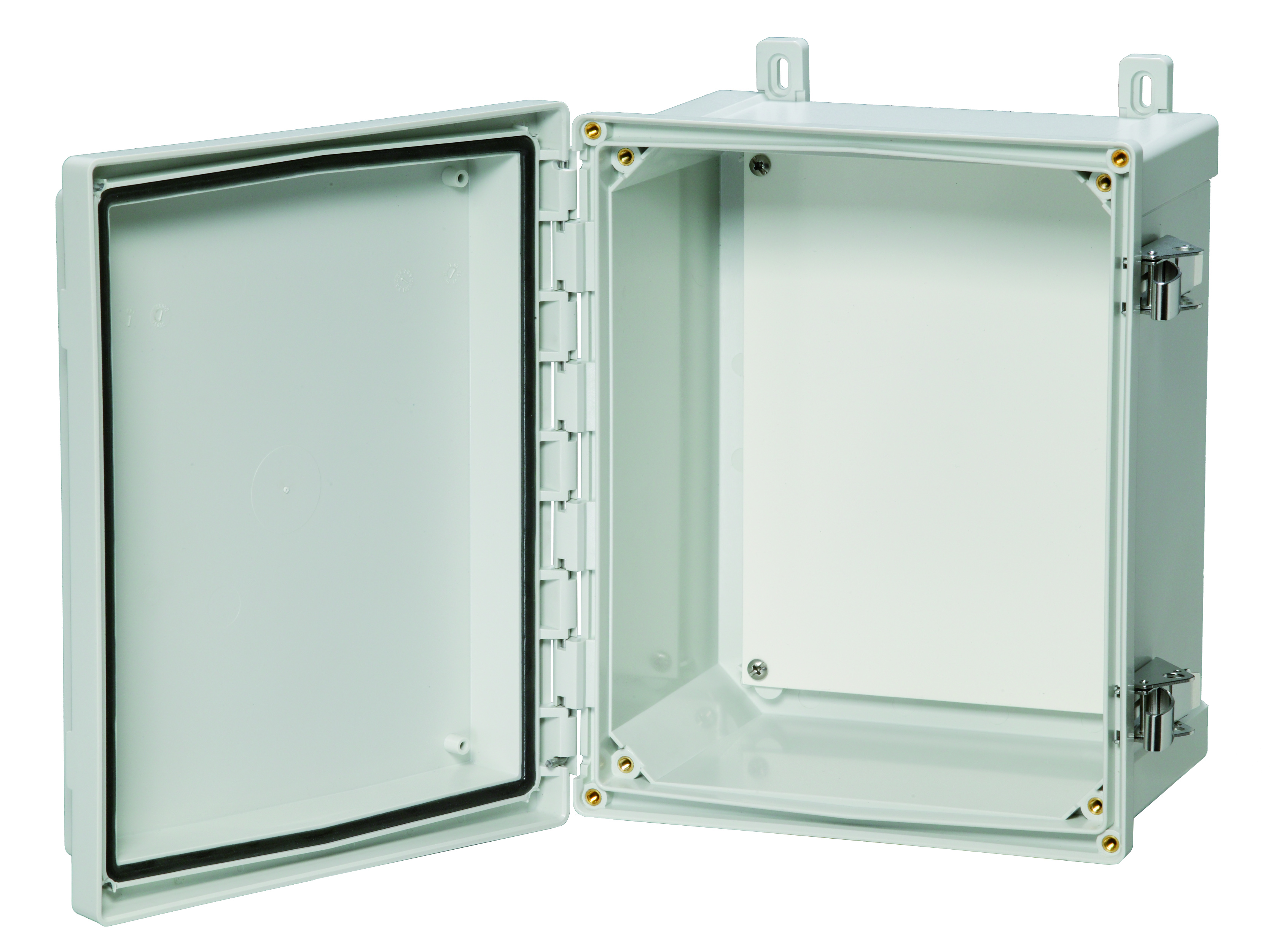Hinged opaque covered enclosure