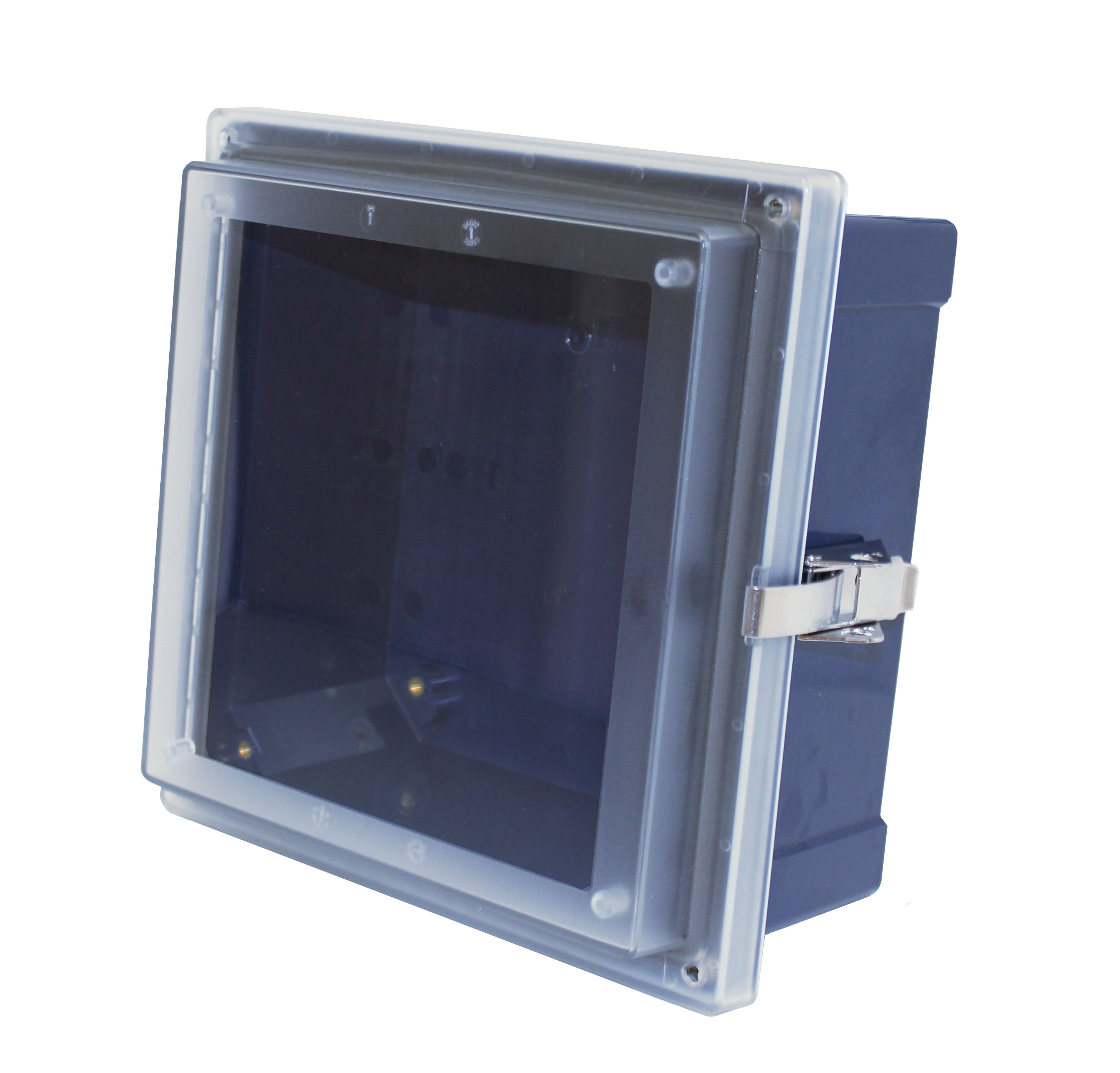 A blue polycabe enclosure base with a transparent cover